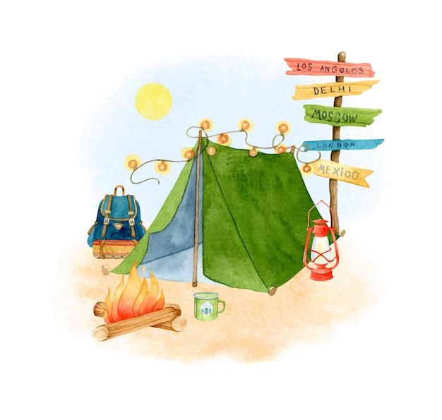 Namiot turystyczny akwarela