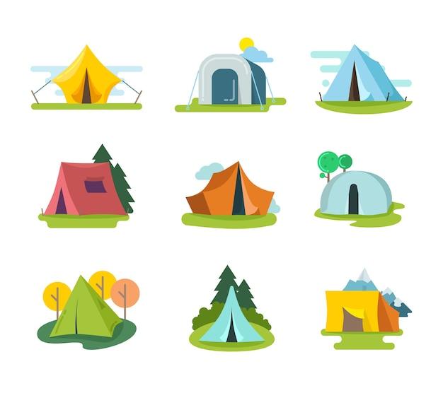 Namioty turystyczne wektor zestaw w stylu płaski. przygoda rekreacyjna, sprzęt na wakacje na świeżym powietrzu, ilustracja aktywności turystycznej