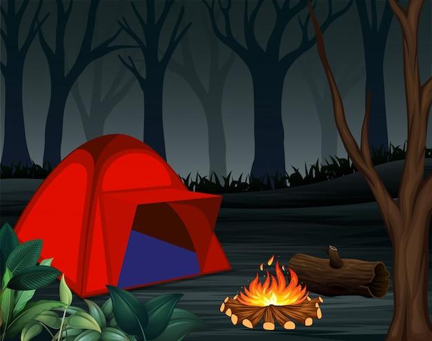 Namioty z ogniskiem na ciemnym noc lasu tle