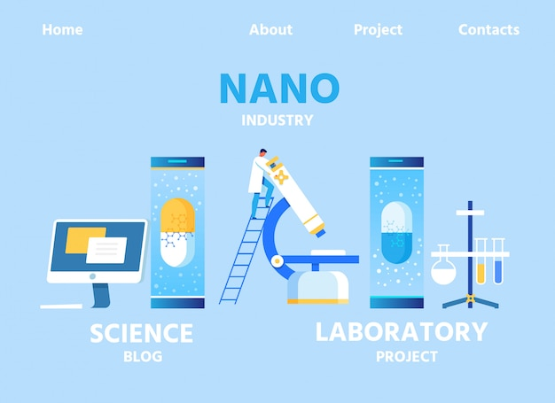 Nano industry landing page for blog and lab center