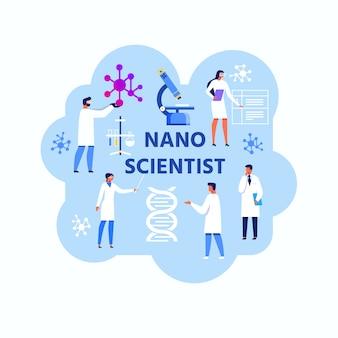 Nano naukowiec streszczenie płaski ilustracja