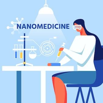 Nanomedycyna kobieta pracuje ilustracja