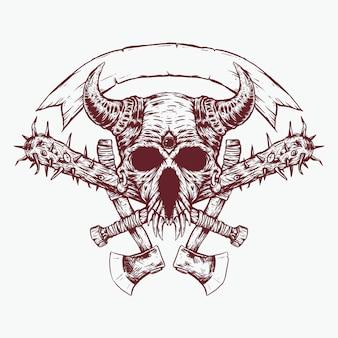 Napalona głowa jednooka zła czaszka z ilustracją baseballu i toporów
