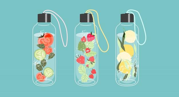 Napar z wody w szklanych butelkach. owoce i warzywa w wodzie. koncepcja detoksykacji i napojów orzeźwiających. modne elementy na białym tle na niebieskim tle. nowoczesna ilustracja do sieci i druku.