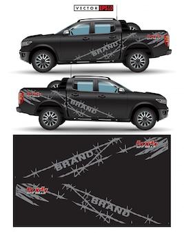 Napęd na koła ciężarówka i wektor graficzny samochodu. abstrakcyjne linie z czarnym wzorem na winylowym opakowaniu pojazdu
