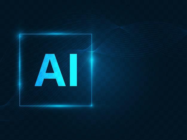 Napis ai (artificial intelligence) na ciemnoniebieskim tle