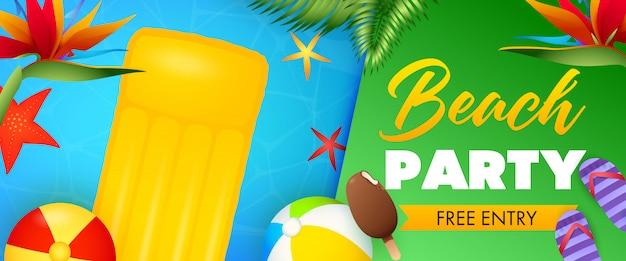 Napis beach party, pływająca tratwa i dmuchane piłki