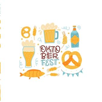 Napis cisolated skład na oktoberfest baner festiwalu bawarskiego z ręcznie narysowanym słowem i g...