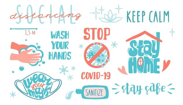 Napis covid dystans społeczny i zapobieganie koronawirusowi kwarantanna i pobyt w domu