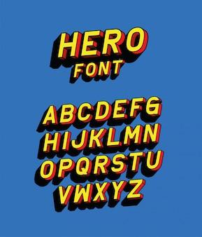 Napis czcionki bohatera z alfabetu na niebieskim tle, typografia retro i motyw komiksowy