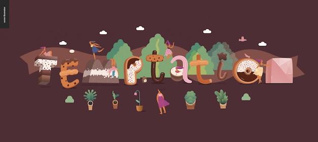 Napis deserowy - pokusa - nowoczesna koncepcja płaski wektor cyfrowy ilustracja czcionki pokusa, słodki napis i dziewczyny. litery karmelowe, toffi, herbatniki, gofry, ciasteczka, śmietana i czekolada