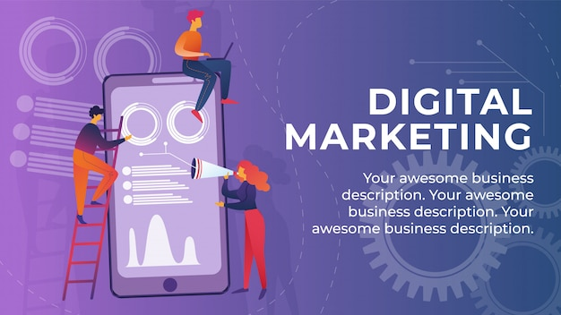 Napis digital marketing banner cartoon.