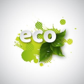 Napis eco na zielonych liściach