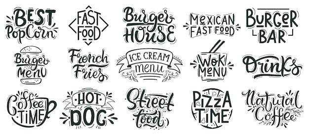 Napis fast food. śmieci, uliczna kawiarnia, piekarnia, odznaki restauracji, pizza, burger i deser ręcznie rysowane