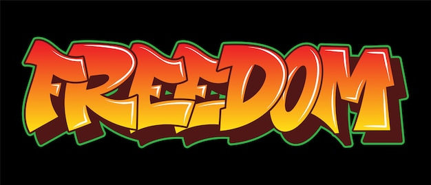 Napis freedom graffiti ozdobny napis wandal sztuka uliczna wolny dziki styl na ścianie miasta miasto nielegalne działanie przy użyciu farby w aerozolu. ilustracja typu podziemnego hip-hopu.