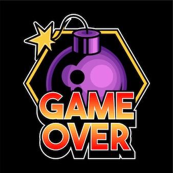 """Napis """"game over"""" jest modnym frazą dla maniaków graczy. ikona z bombą nowoczesne niestandardowe logo z nadrukiem na koszulkę z ubraniami"""
