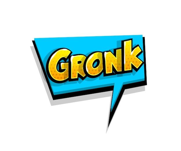 Napis gronk, grr. tekst komiksowy pop-art