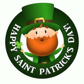 Napis happy saint patricks day w okrągłej ramie, krasnoludek