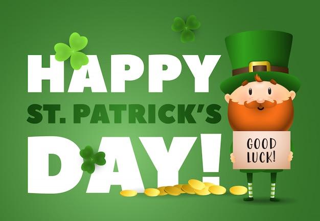 Napis happy st patricks day, powodzenia, leprechaun i złoto
