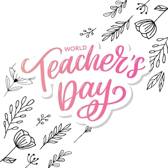 Napis happy teacher's day. pozdrowienie ręcznie rysowane napis.