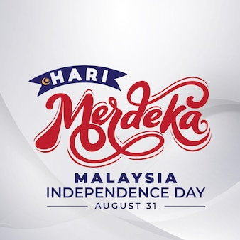 Napis hari merdeka z białym abstrakcyjnym tłem
