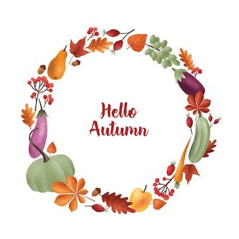 Napis hello autumn napisany eleganckim pismem kaligraficznym w okrągłej ramie lub wianku z sezonowych warzyw, owoców, opadłych liści, żołędzi, jagód. ilustracja wektorowa kolorowe.