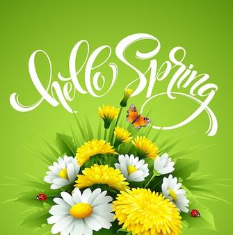 Napis hello spring hand napis z kwiatami