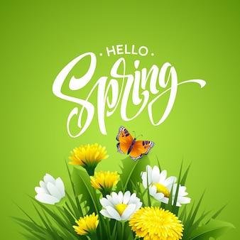 Napis hello spring z wiosennych kwiatów.