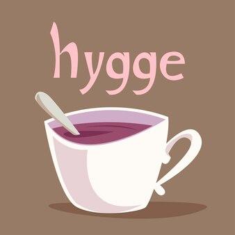 Napis hygge nad białym kubkiem z napojem, herbatą lub kawą. wektor w stylu płaski dla dzieci.