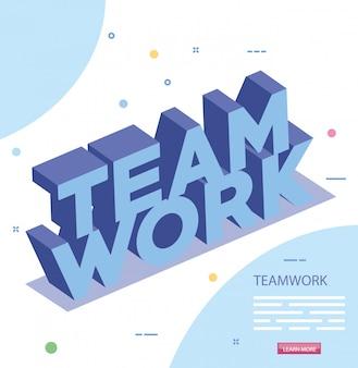 Napis ikona na białym tle pracy zespołowej