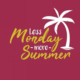 Napis inspirująca typografia cytuje mniej poniedziałku więcej lata
