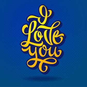 Napis kocham cię za wyznania miłości, gratulacje. żółte litery na niebieskim tle. nowoczesna kaligrafia pędzla. ilustracja. .