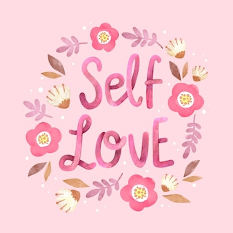 Napis kwiaty miłość siebie