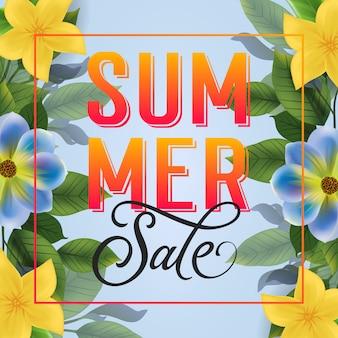 Napis lato sprzedaż. jasny napis w ramce z kolorowych kwiatów.