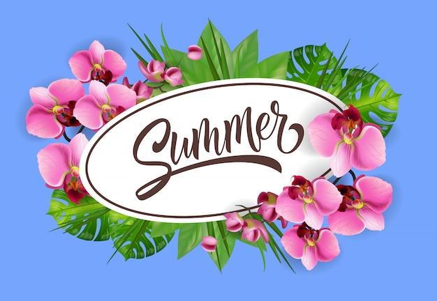 Napis letni w owalnej ramie ze storczykami. letnia oferta lub reklama sprzedażowa
