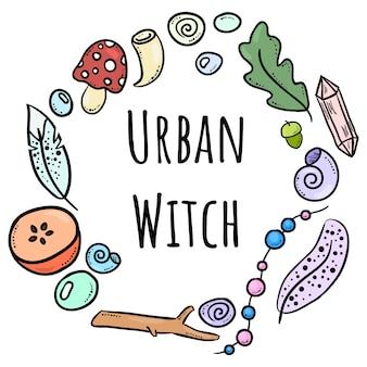 Napis miejski czarownica z kolorowymi doodles
