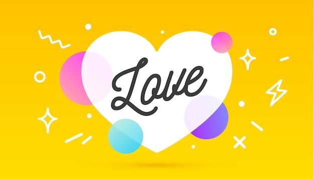 Napis miłosny. geometryczny styl memphis z miłością do wiadomości
