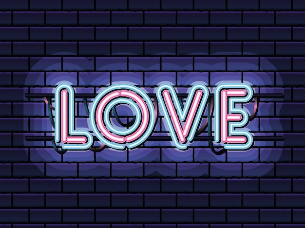 Napis miłosny w neonowej czcionce w różowym i niebieskim kolorze na granatowym projekcie ilustracji