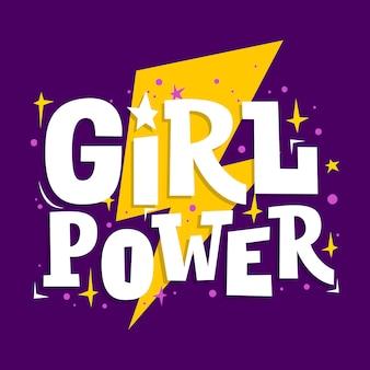 Napis motywacyjny girl power. hasło feminizmu.