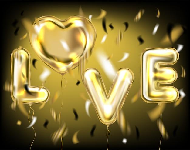 Napis na czarną miłość przez złote balony foliowe