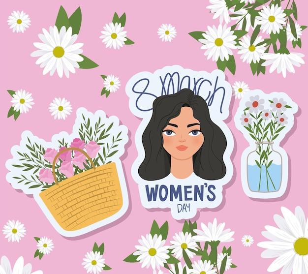Napis na dzień kobiet marca, urocza kobieta z czarnymi włosami i koszem pełnym róż