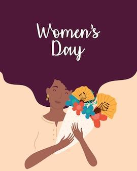 Napis na dzień kobiet z afro kobieta podnosząca bukiet kwiatów ilustracja