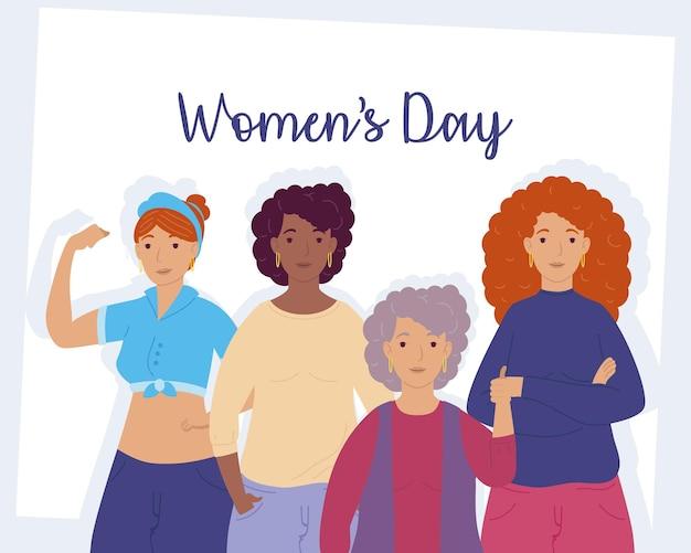 Napis na dzień kobiet z międzyrasowymi ilustracjami grupy dziewcząt