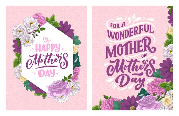 Napis na dzień matki karty upominkowej.