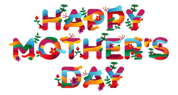 Napis na dzień matki w jasnych kolorach z pięknymi ilustracjami