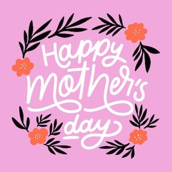 Napis na dzień matki z kwiatami