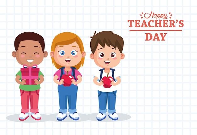 Napis na dzień nauczyciela z grupą uczniów
