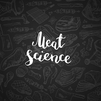 Napis na gradientwith kredą ręcznie rysowane elementy mięsne