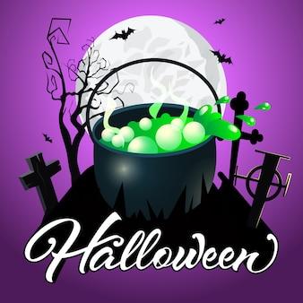 Napis na halloween. kocioł z zielonym napojem eliksirowym na cmentarzu