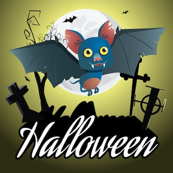 Napis na halloween. kreskówka nietoperz lata nad cmentarzem
